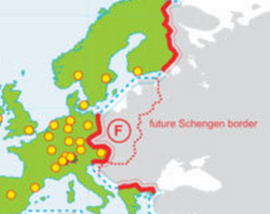 Future Shengen border in Walled World map by TD Architects.